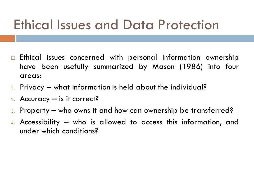 Ethical Issues and Data Protection