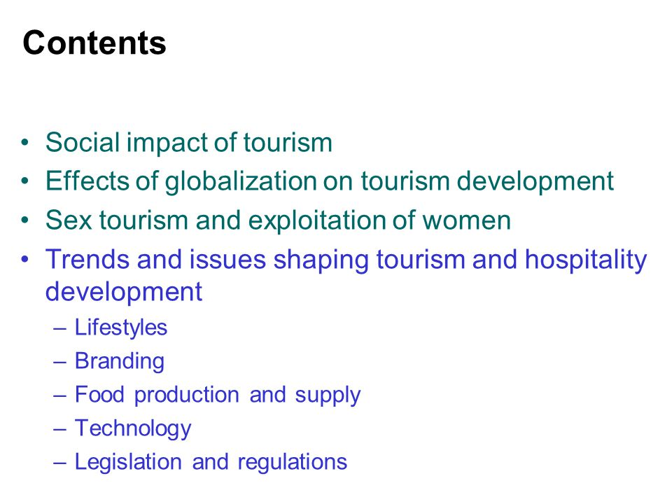 Contents Social impact of tourism