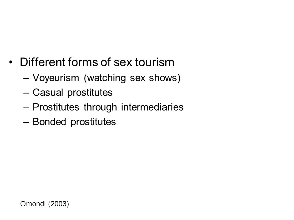 Different forms of sex tourism