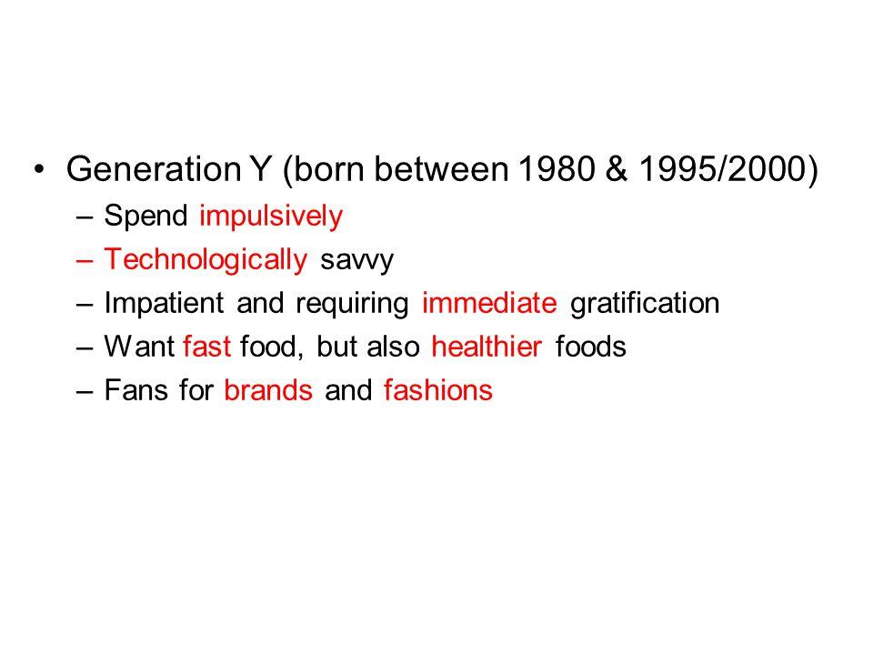 Generation Y (born between 1980 & 1995/2000)