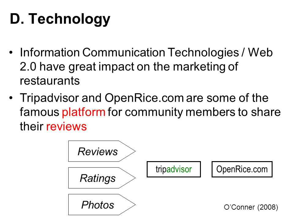 D. Technology Information Communication Technologies / Web 2.0 have great impact on the marketing of restaurants.