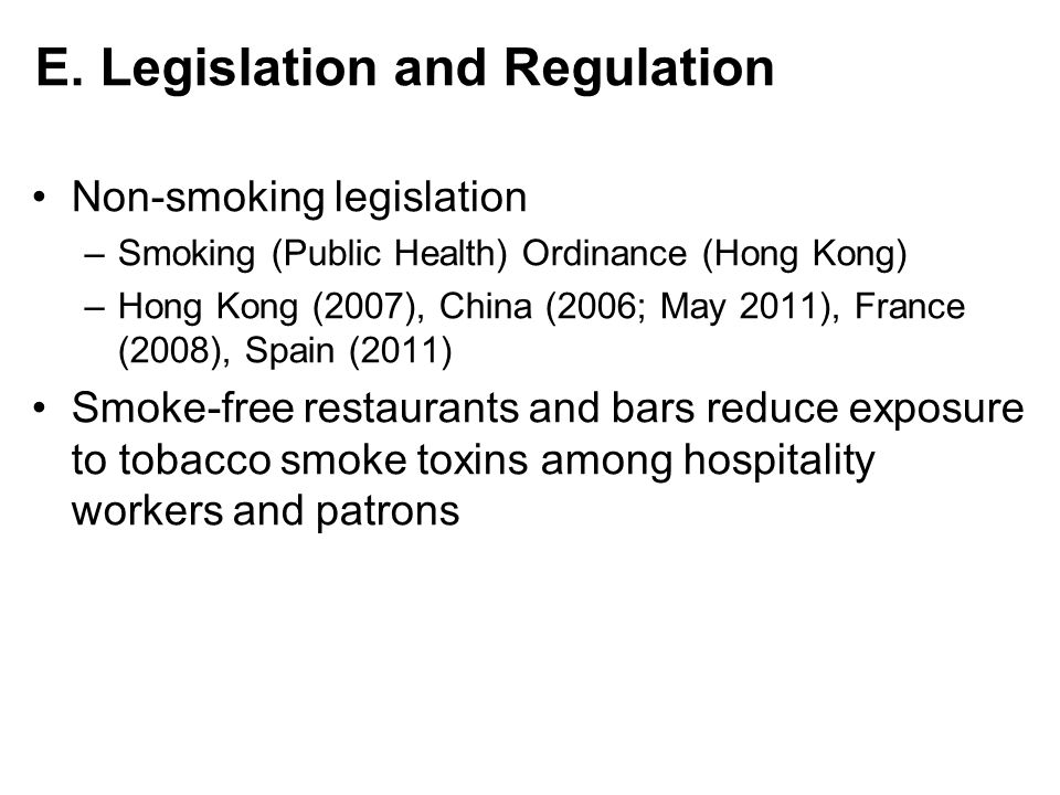 E. Legislation and Regulation
