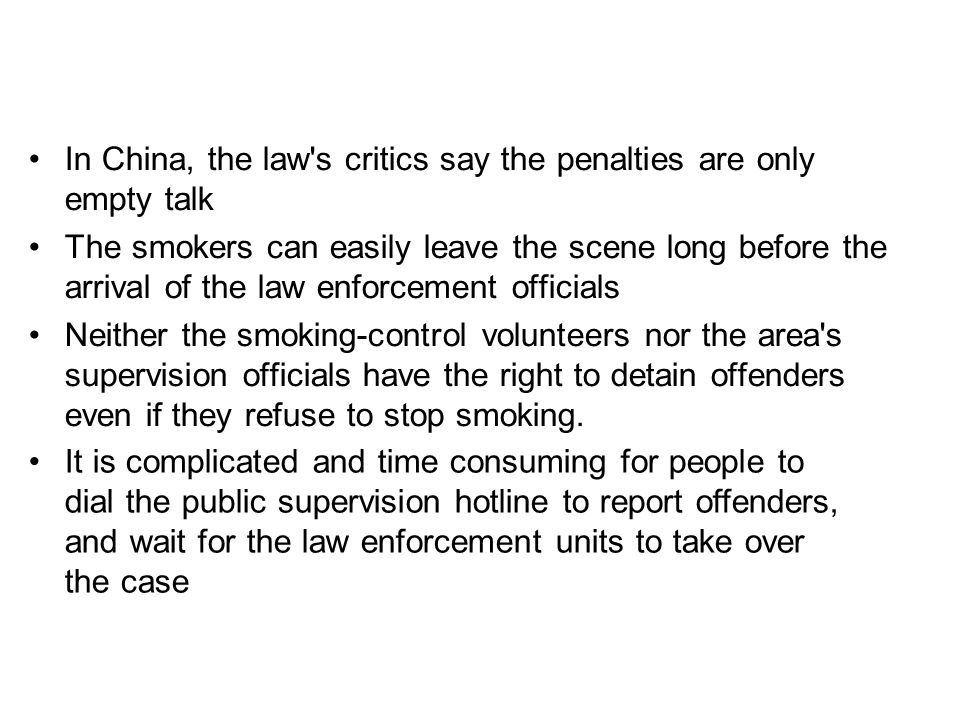 In China, the law s critics say the penalties are only empty talk