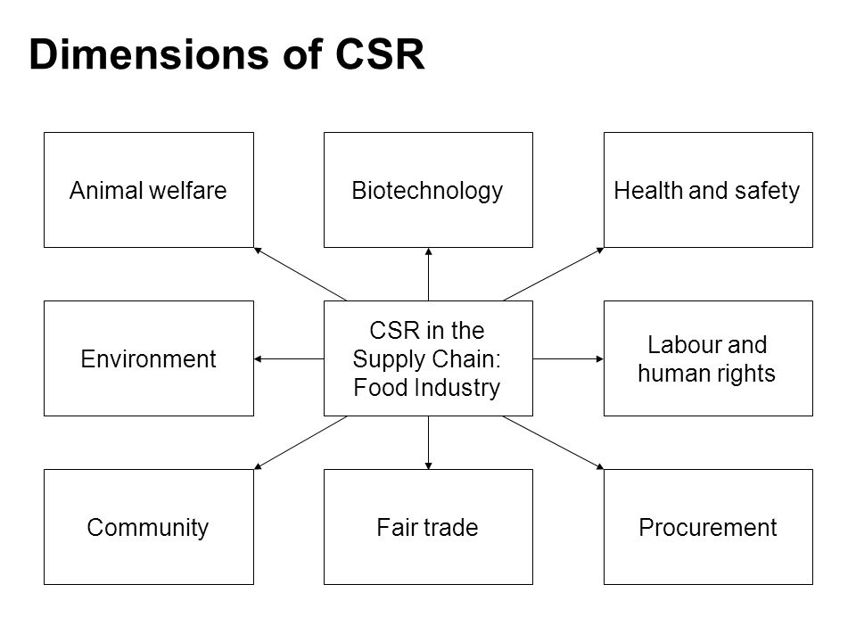 Dimensions of CSR Animal welfare Biotechnology Health and safety