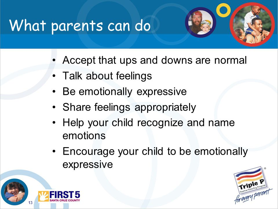 What parents can do Accept that ups and downs are normal