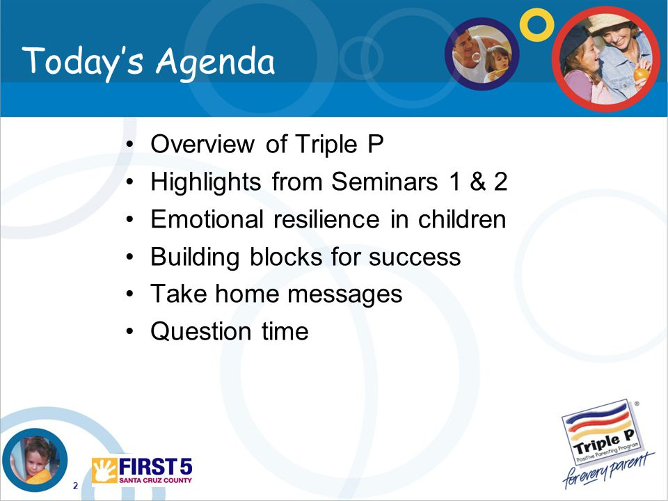 Today's Agenda Overview of Triple P Highlights from Seminars 1 & 2