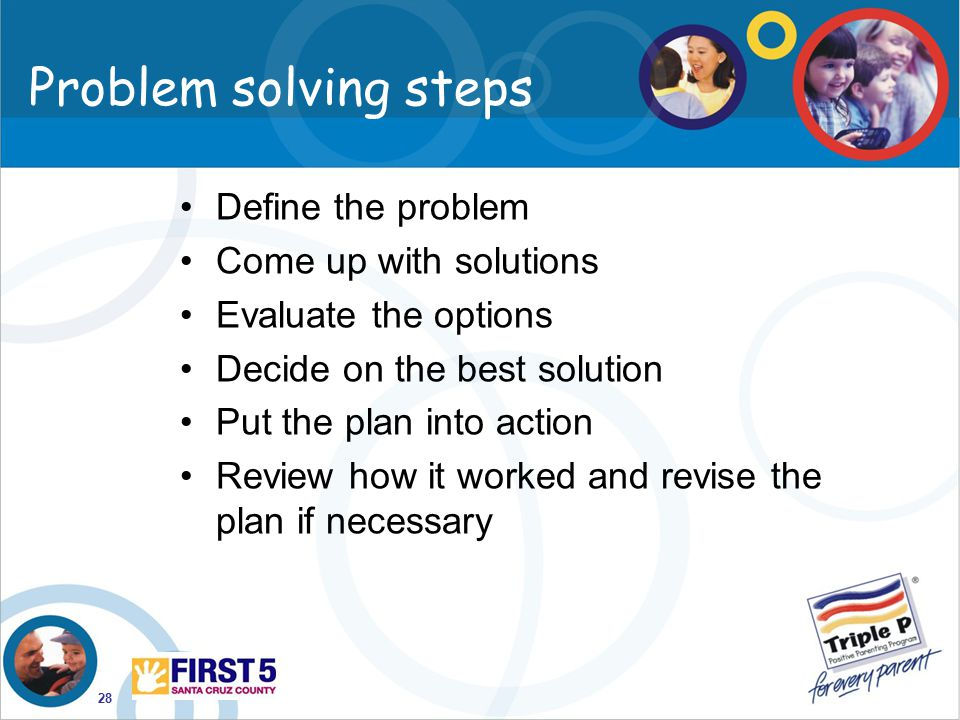 Problem solving steps Define the problem Come up with solutions