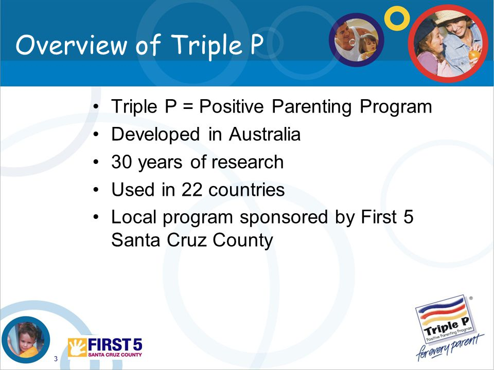 Overview of Triple P Triple P = Positive Parenting Program