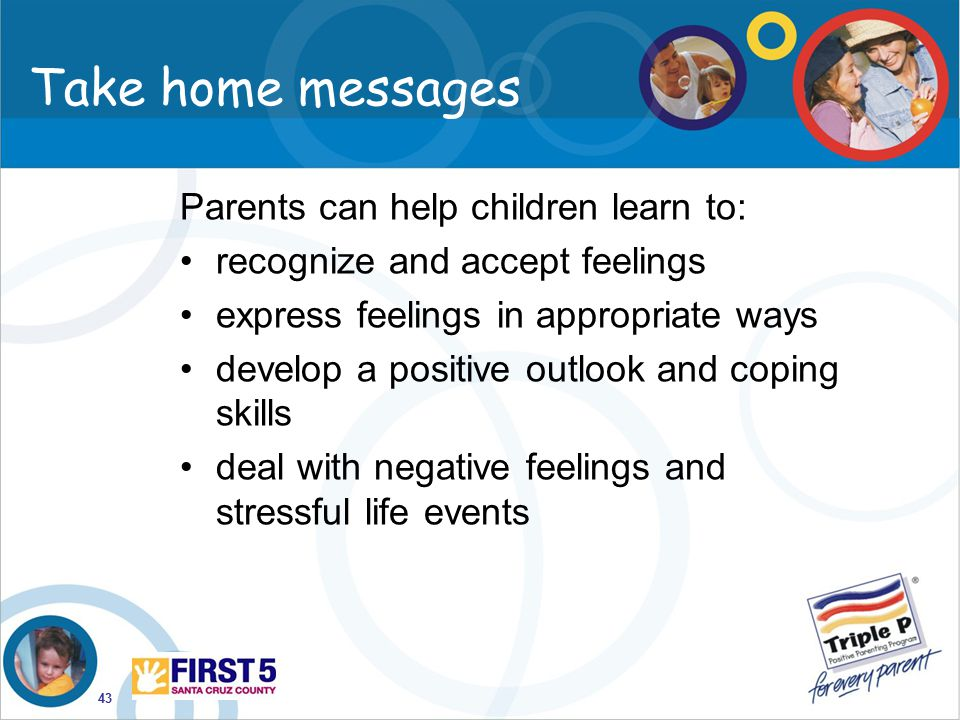 Take home messages Parents can help children learn to: