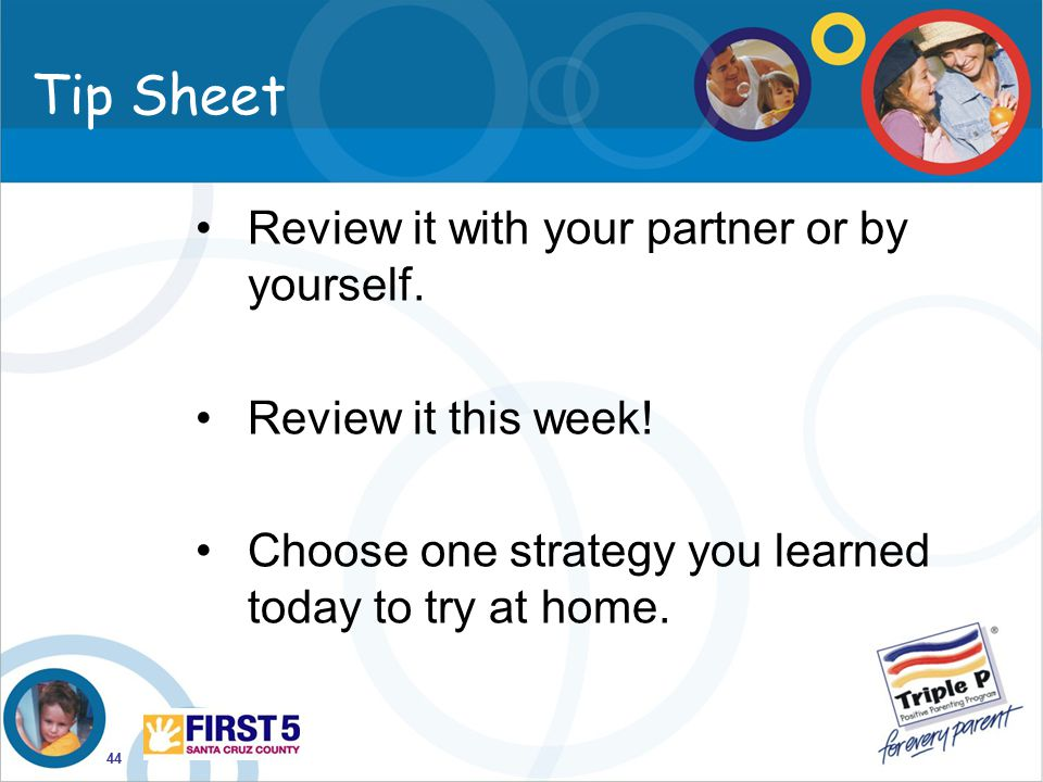 Tip Sheet Review it with your partner or by yourself.
