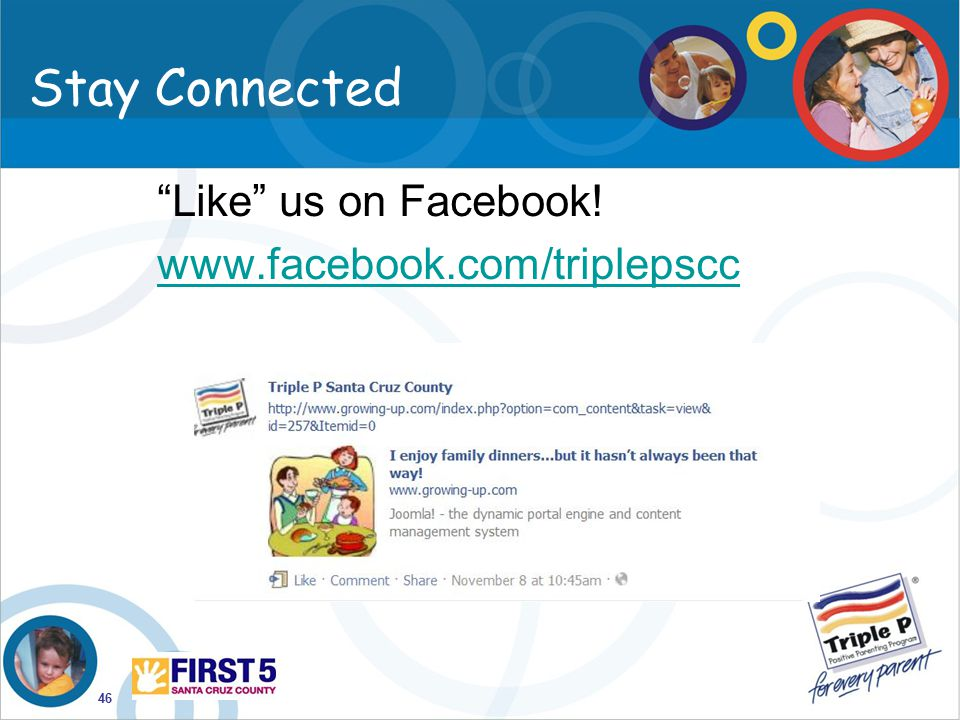 Stay Connected Like us on Facebook! www.facebook.com/triplepscc