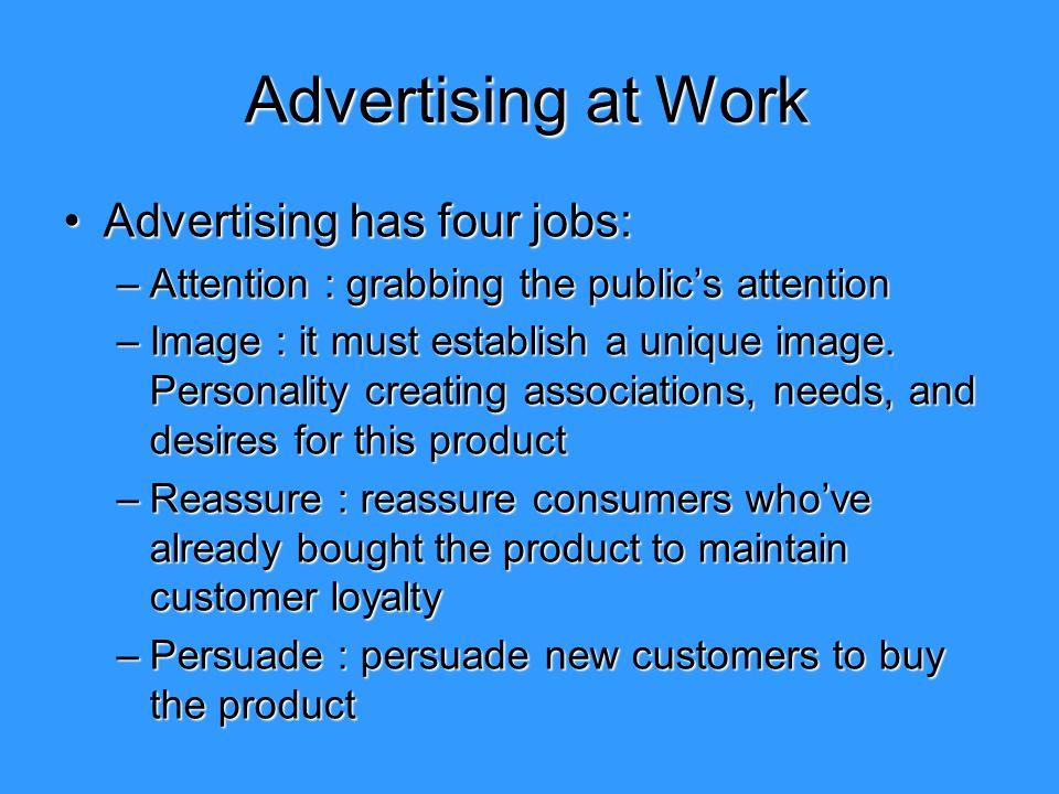 Advertising at Work Advertising has four jobs: