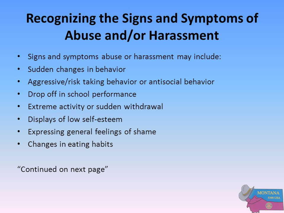 Recognizing the Signs and Symptoms of Abuse and/or Harassment