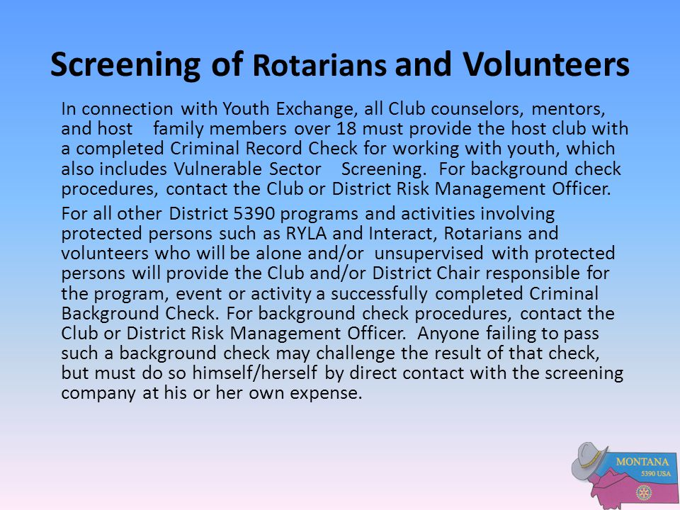 Screening of Rotarians and Volunteers