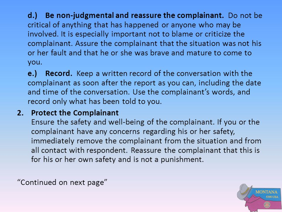 d. ). Be non-judgmental and reassure the complainant