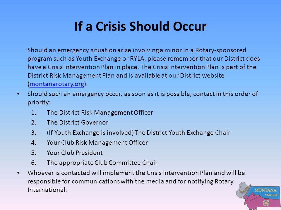 If a Crisis Should Occur