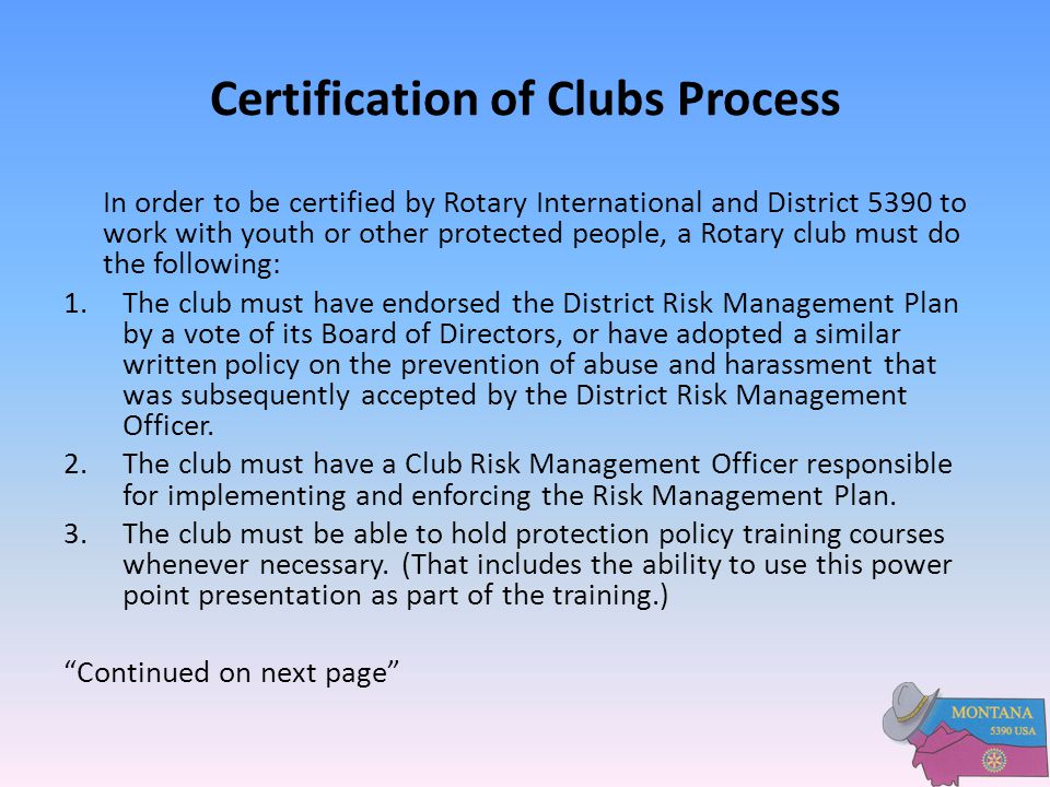 Certification of Clubs Process