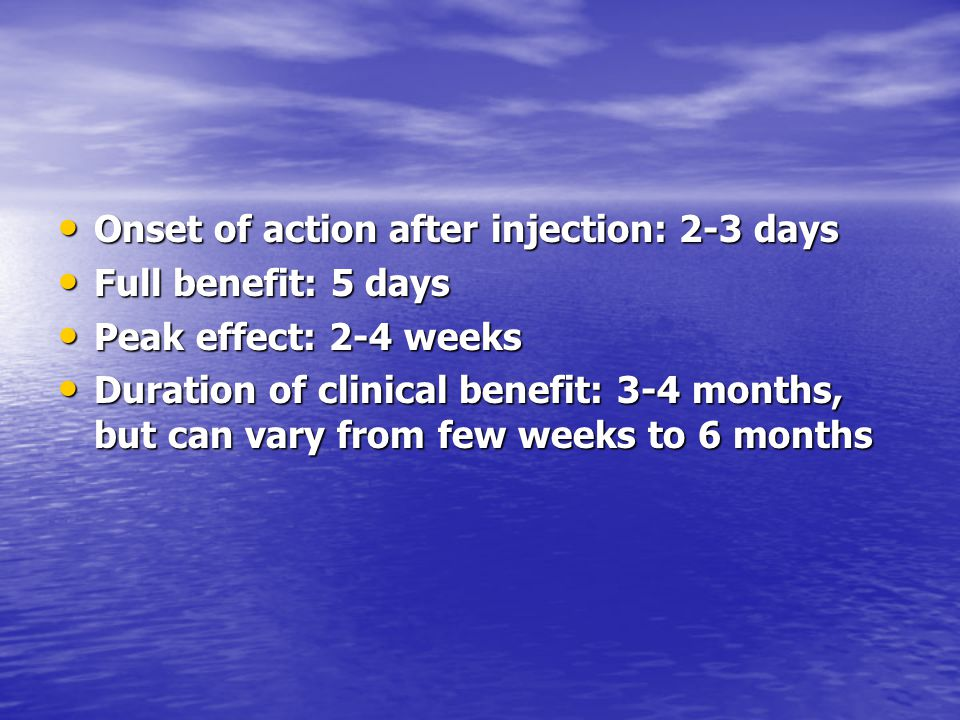 Onset of action after injection: 2-3 days