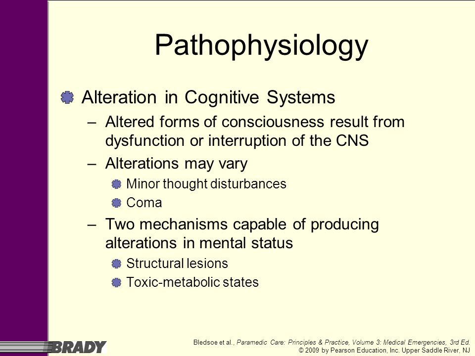 Pathophysiology Alteration in Cognitive Systems