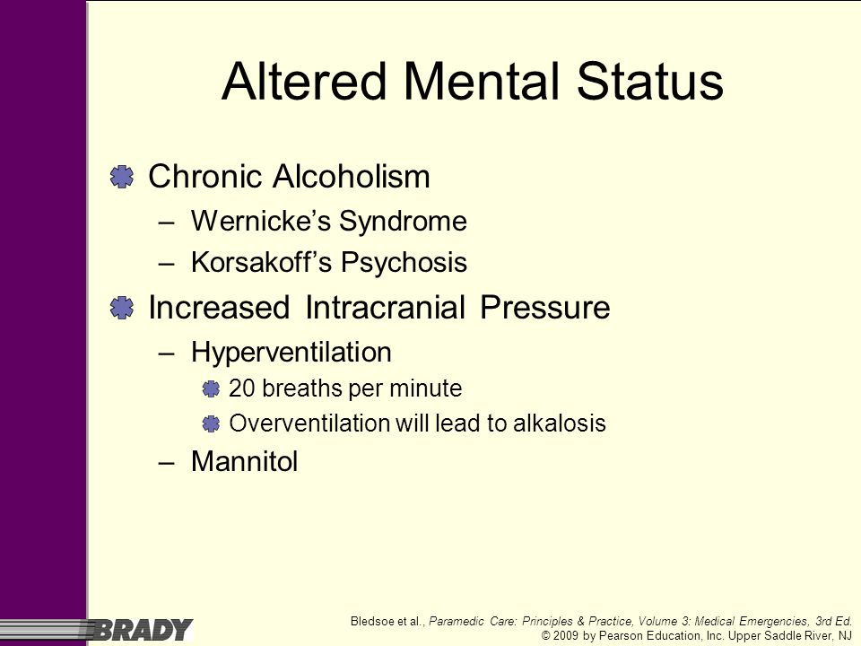 Altered Mental Status Chronic Alcoholism