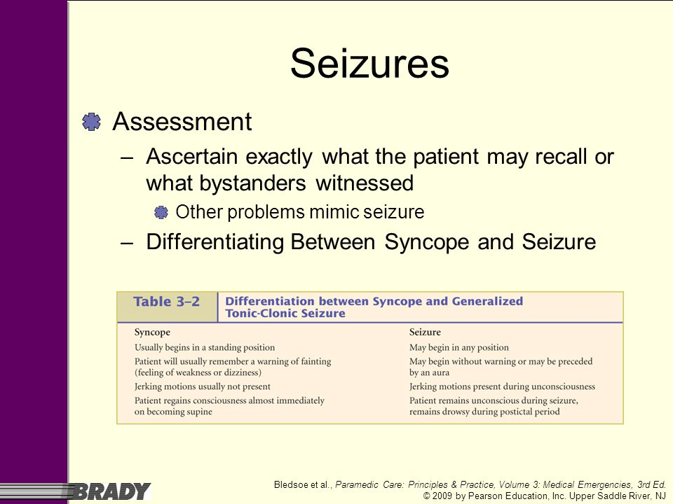 Seizures Assessment. Ascertain exactly what the patient may recall or what bystanders witnessed. Other problems mimic seizure.