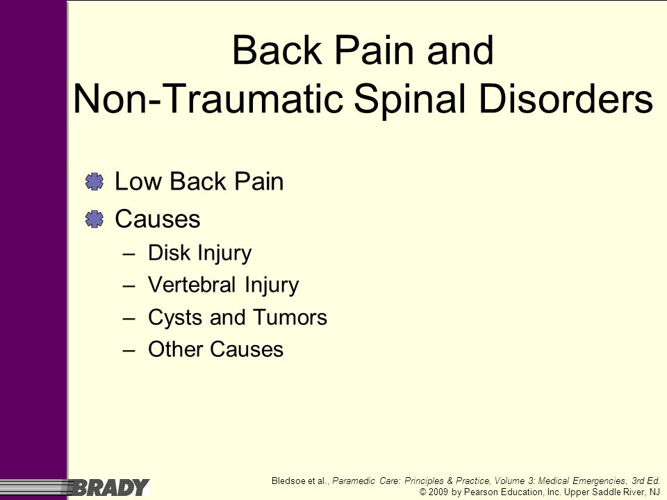 Back Pain and Non-Traumatic Spinal Disorders