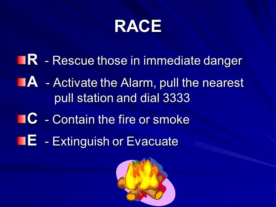 RACE R - Rescue those in immediate danger