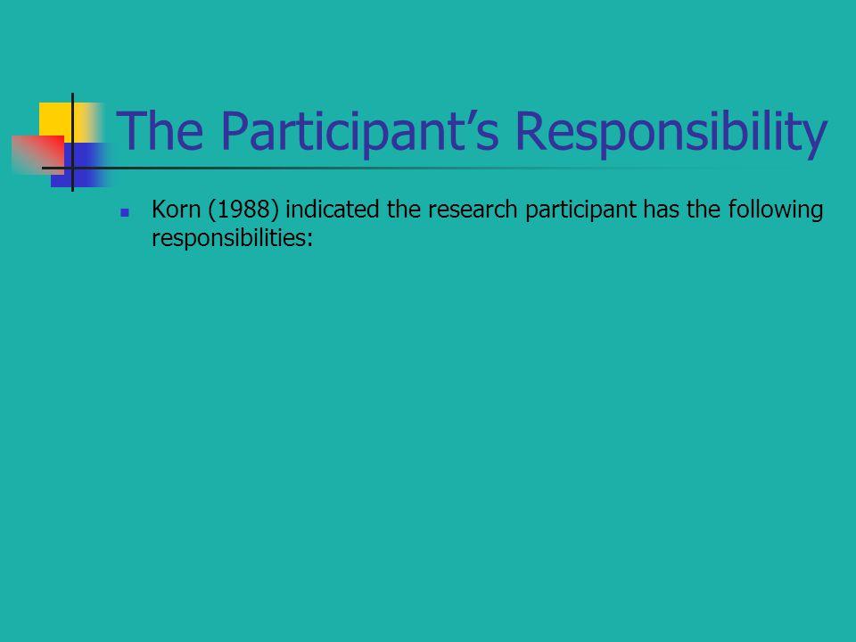 The Participant's Responsibility
