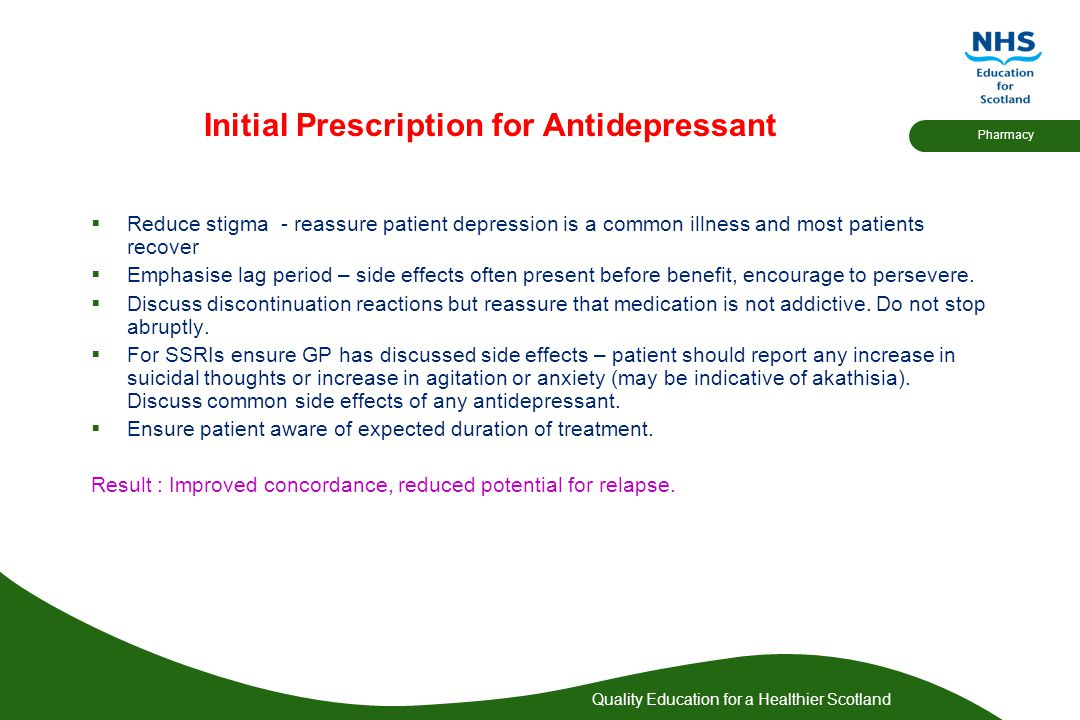 Initial Prescription for Antidepressant