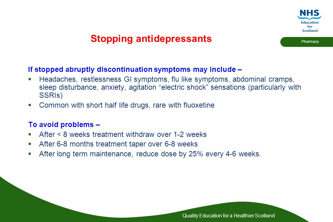 Stopping antidepressants