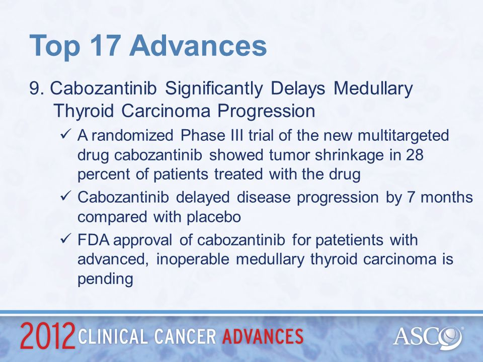 Top 17 Advances 9. Cabozantinib Significantly Delays Medullary Thyroid Carcinoma Progression.