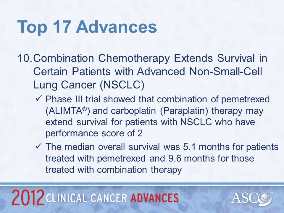 Top 17 Advances Combination Chemotherapy Extends Survival in Certain Patients with Advanced Non-Small-Cell Lung Cancer (NSCLC)