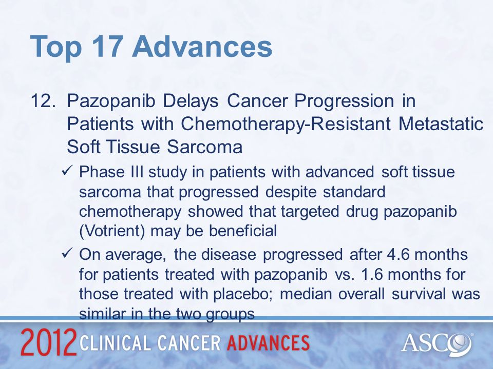 Top 17 Advances Pazopanib Delays Cancer Progression in Patients with Chemotherapy-Resistant Metastatic Soft Tissue Sarcoma.