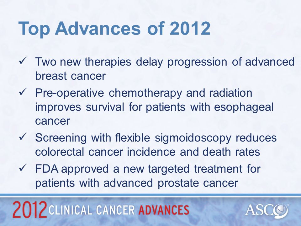 Top Advances of 2012 Two new therapies delay progression of advanced breast cancer.