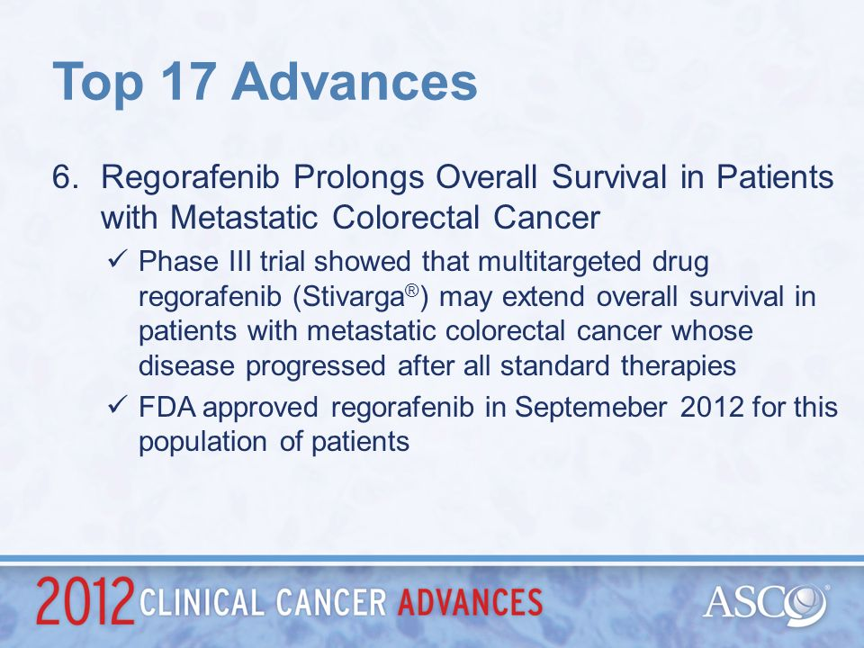 Top 17 AdvancesRegorafenib Prolongs Overall Survival in Patients with Metastatic Colorectal Cancer.