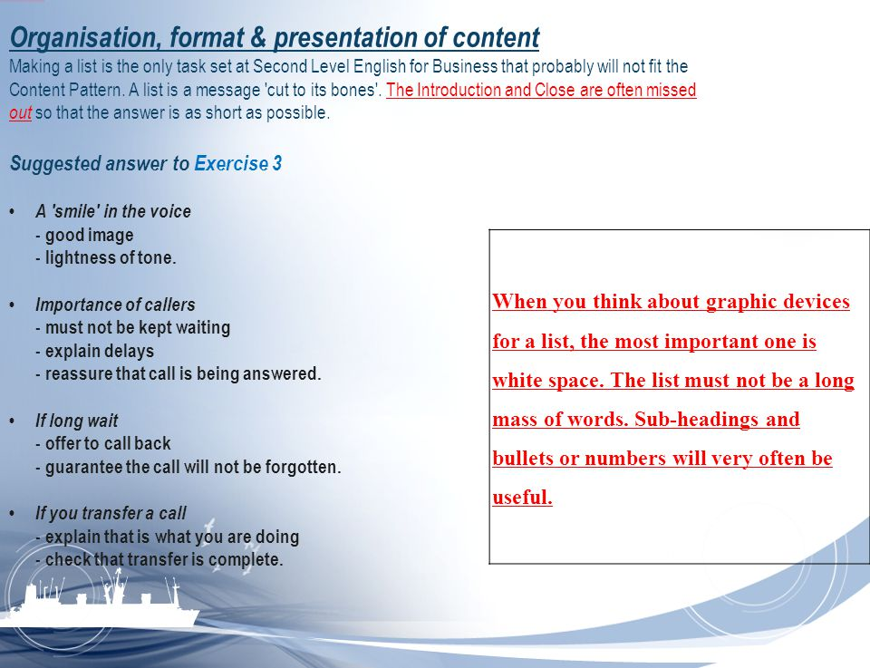 Organisation, format & presentation of content