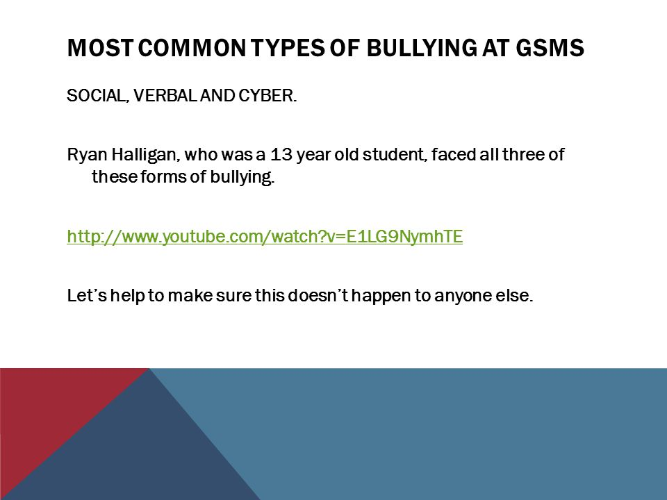 Most common types of bullying at gsms