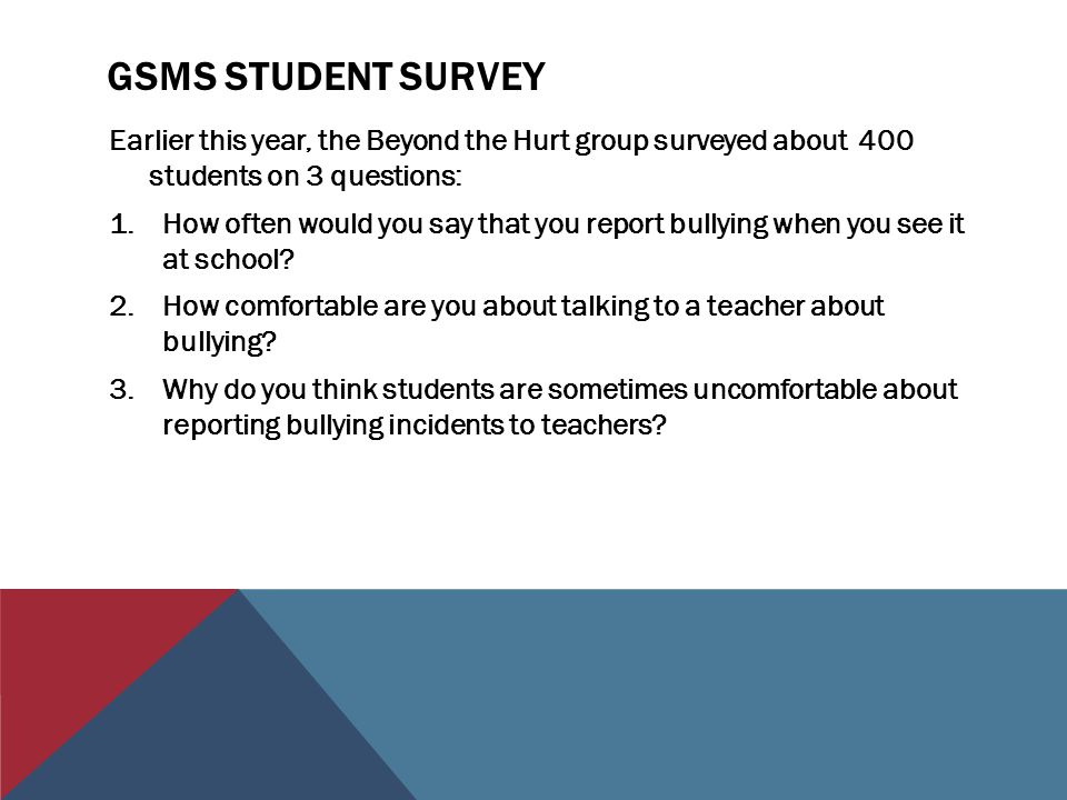 Gsms student survey Earlier this year, the Beyond the Hurt group surveyed about 400 students on 3 questions: