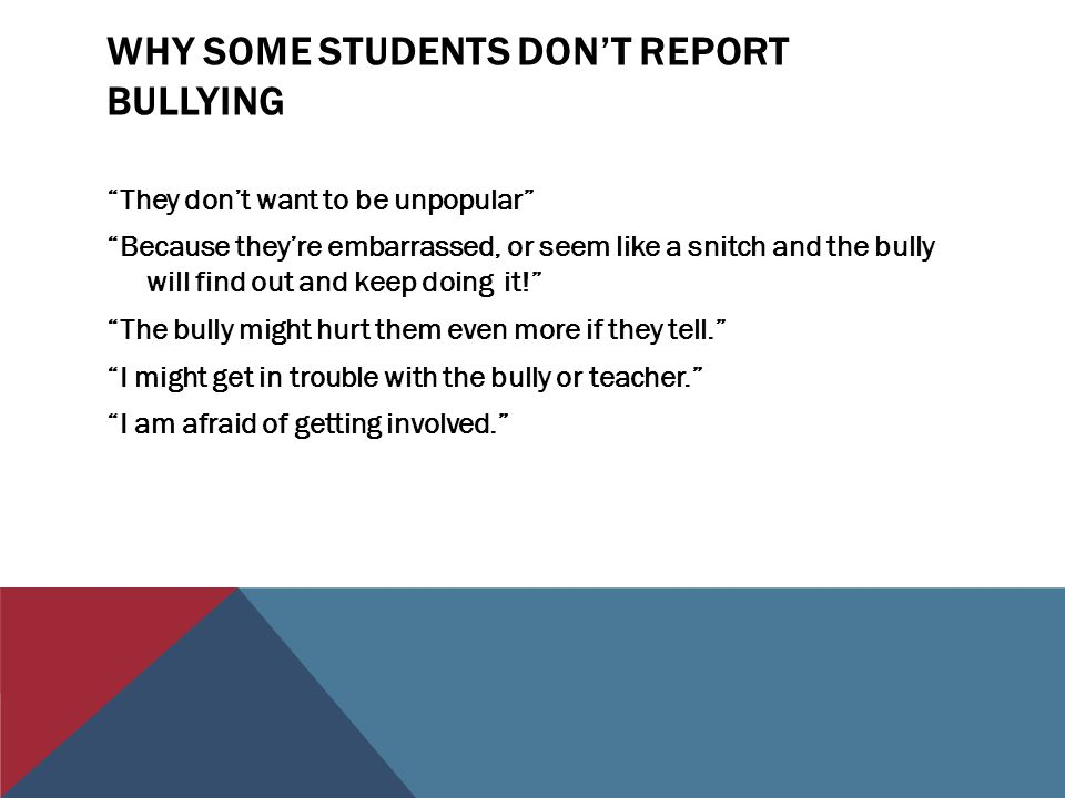 why some students don't report bullying