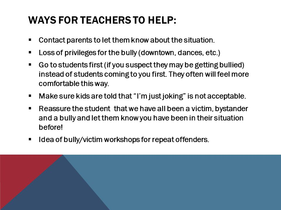 Ways for teachers to Help:
