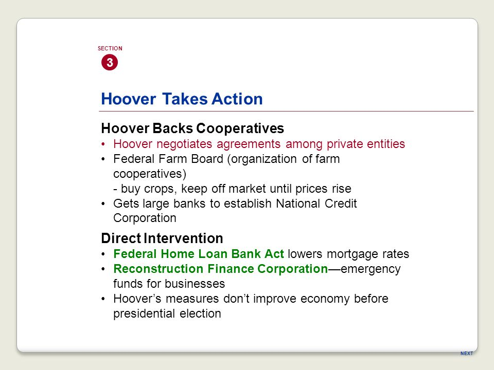 Hoover Takes Action Hoover Backs Cooperatives Direct Intervention 3