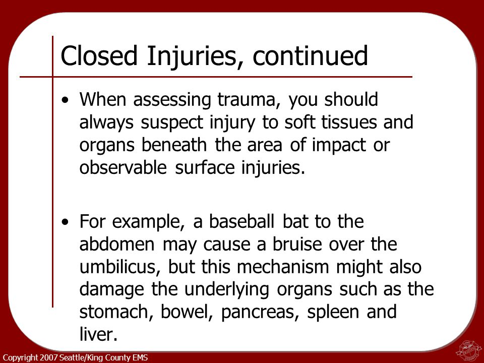 Closed Injuries, continued