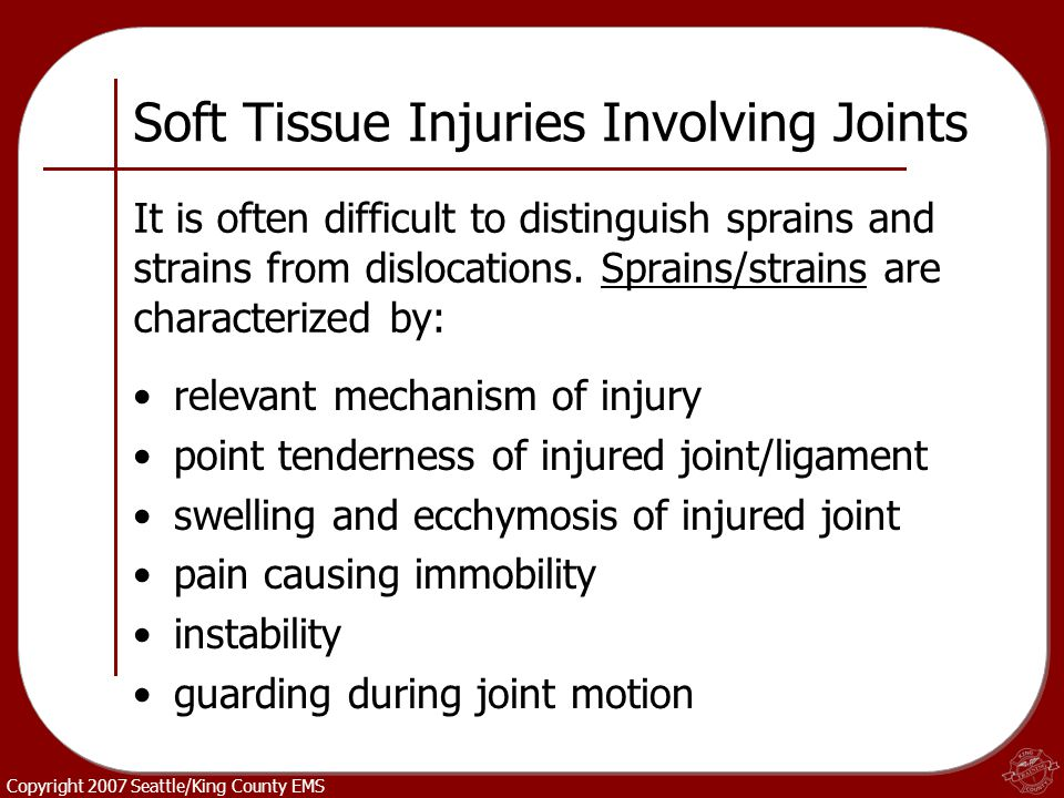 Soft Tissue Injuries Involving Joints