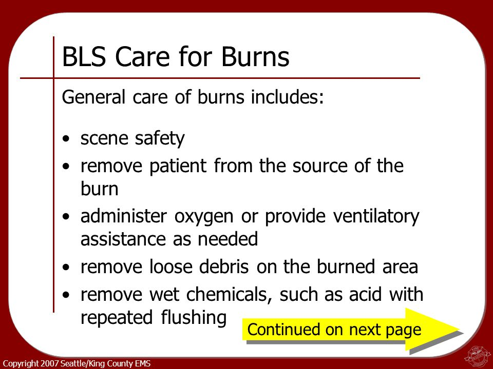 BLS Care for Burns General care of burns includes: scene safety