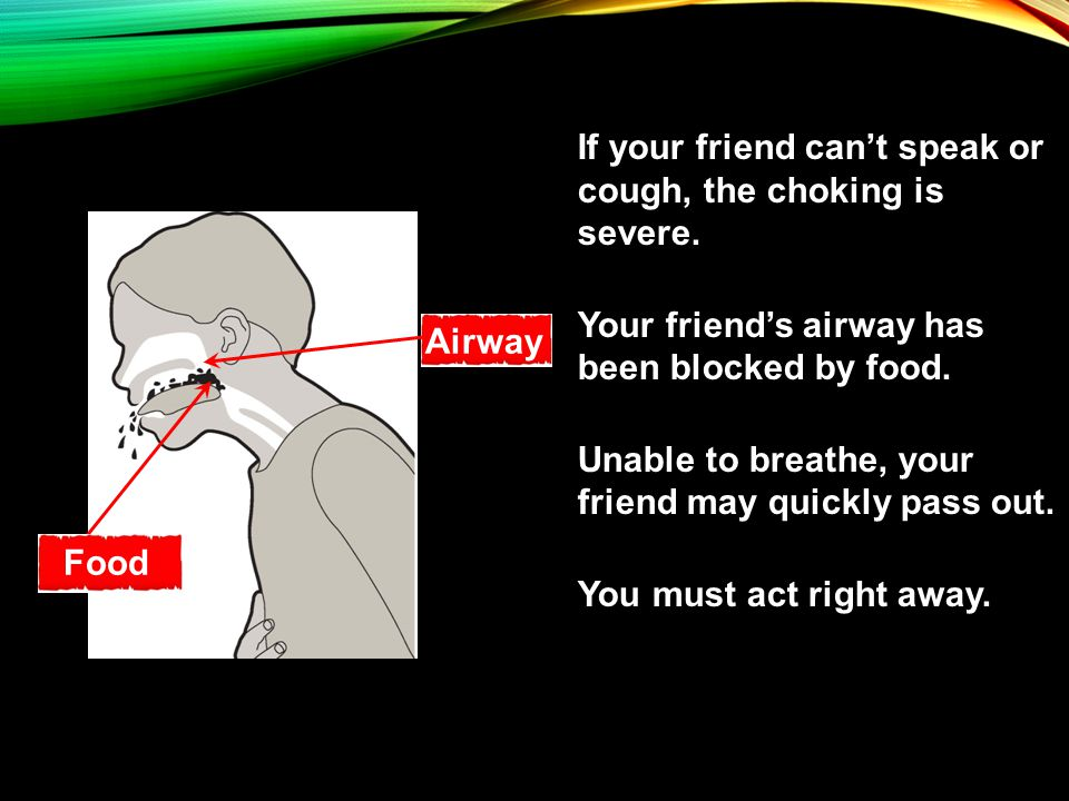 If your friend can't speak or cough, the choking is severe.