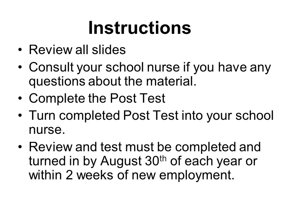 Instructions Review all slides