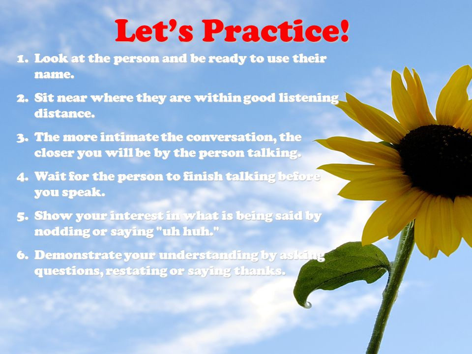 Let's Practice! Look at the person and be ready to use their name.