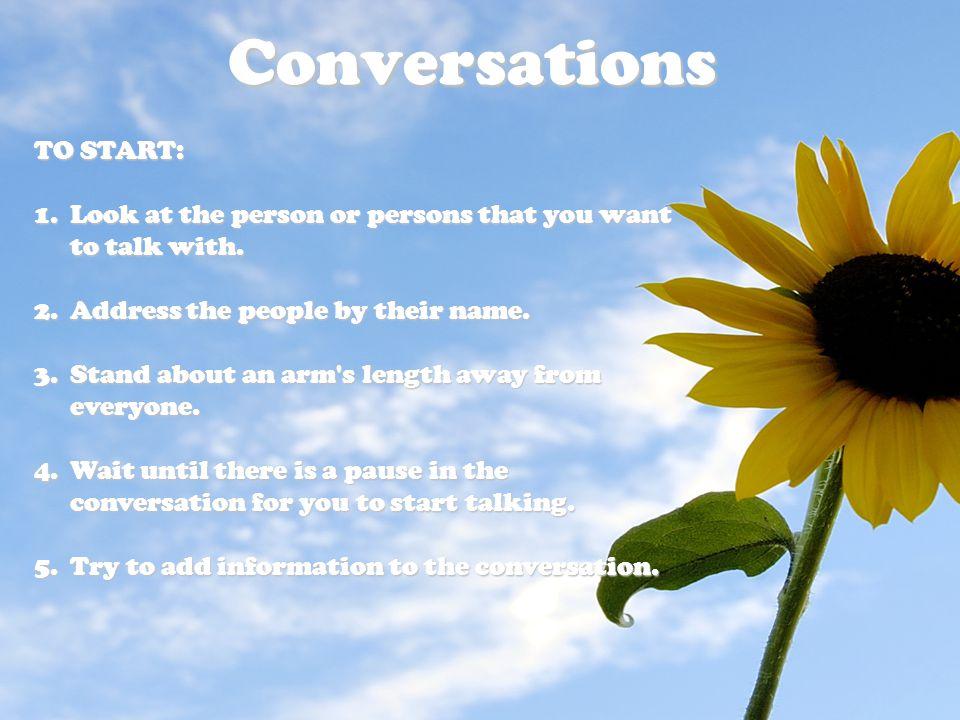 Conversations TO START: