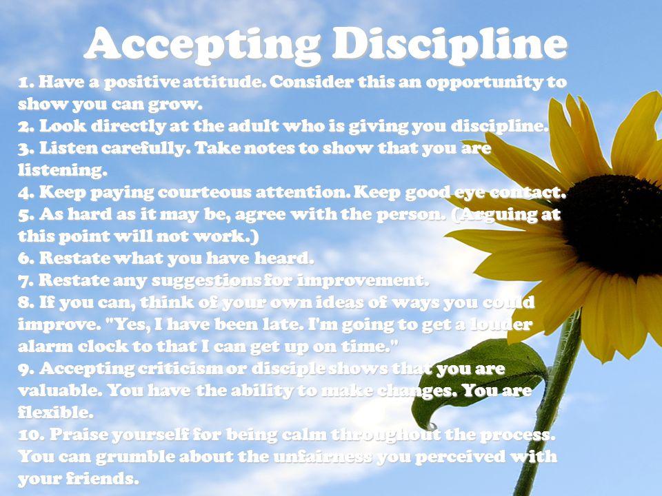 Accepting Discipline