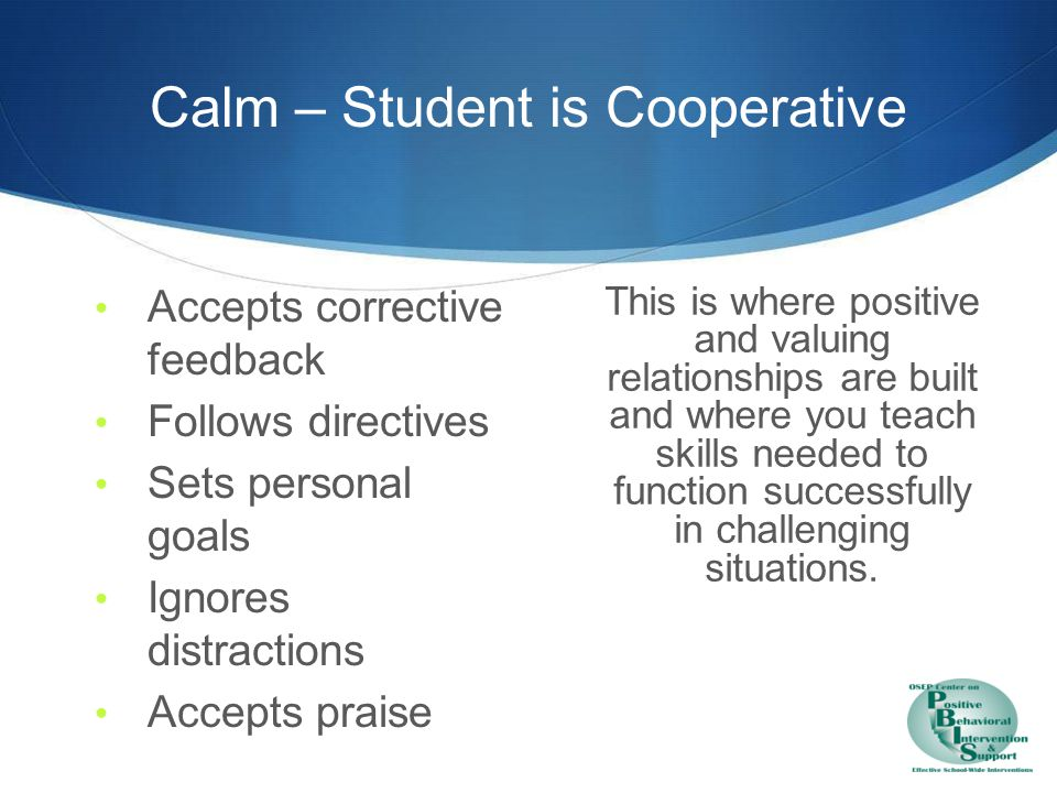 Calm – Intervention is prevention